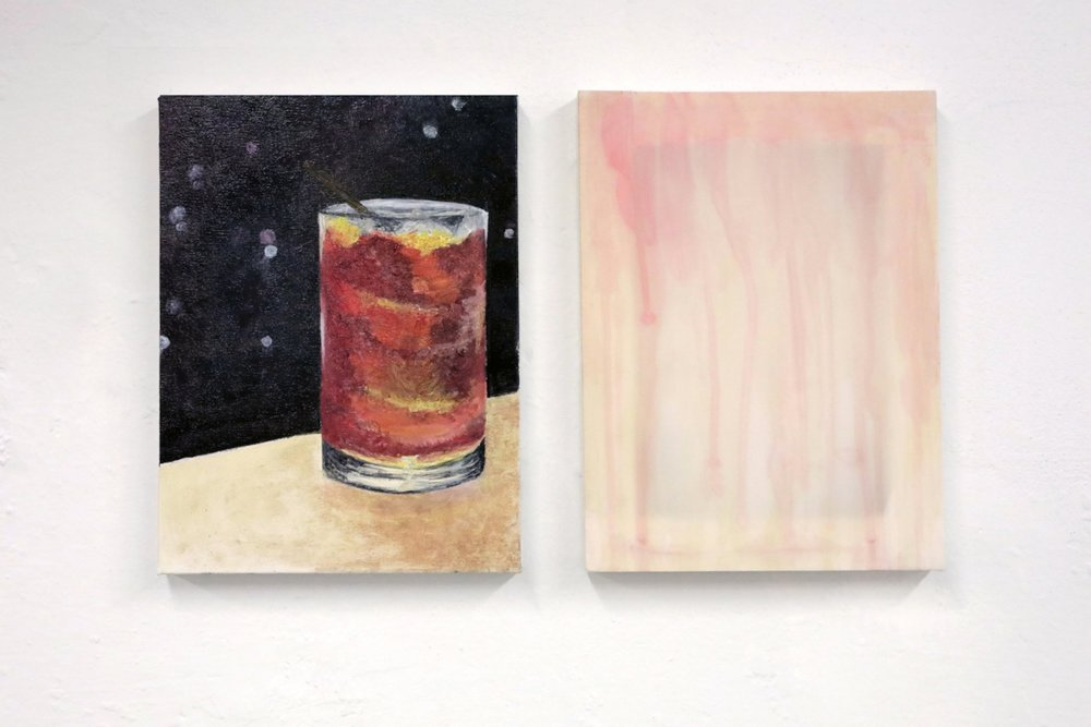 Antonietta Federici and Jacopo Miliani  Negroni,  2017, Oil on Canvas, 30x40 cm, Gin, Campari, red vermouth on silk 30x40 cm