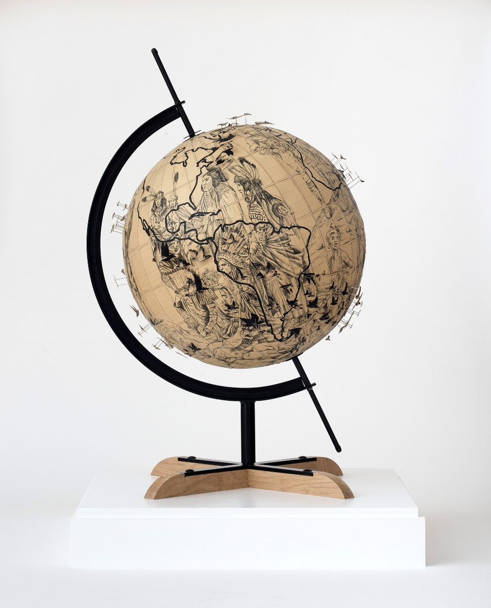 Pietro Ruffo,  Migration Globe , 2017, ink and cut on paper laid on canvas, Courtesy the artist, ph. Giorgio Benni