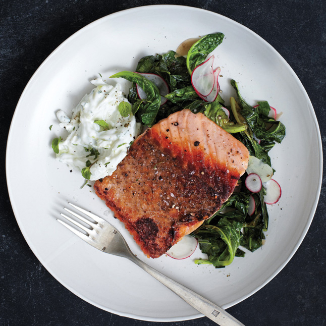 Pan-Roasted Salmon with Collards and Radish Raita click here for recipe