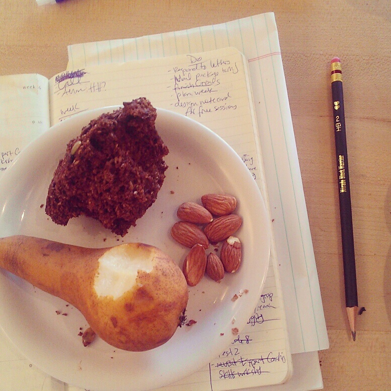 Pear, bran muffin and some almonds