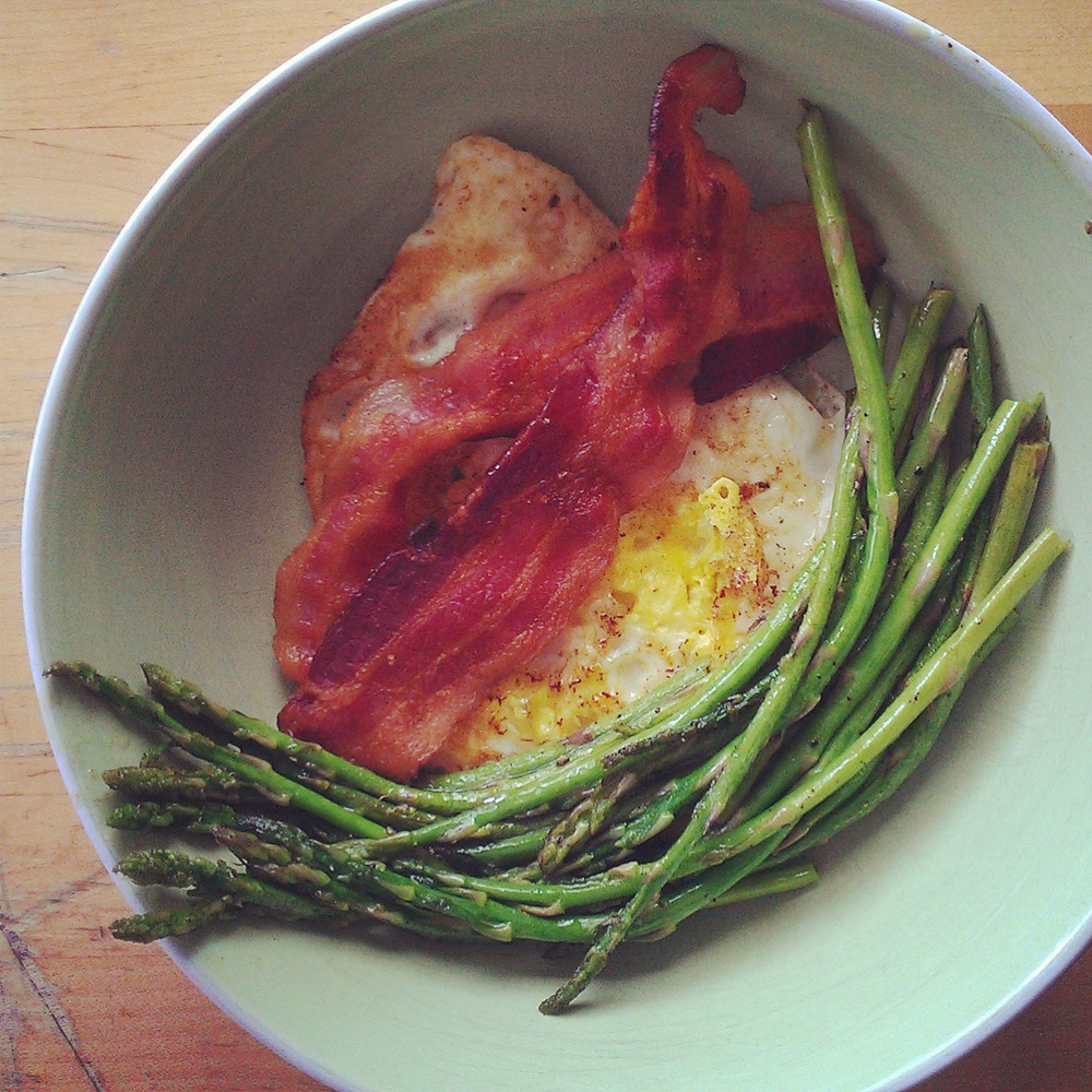 bacon, asparagus and fried egg