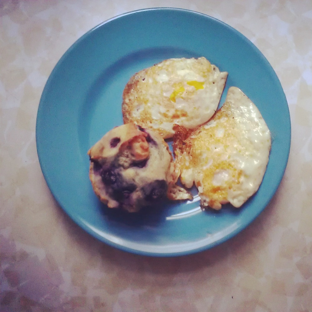Fried eggs and gluten free muffin