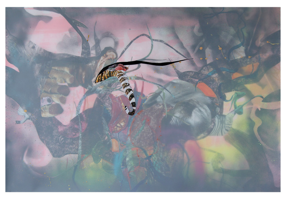 """Regestion  30"""" X 44""""  Ink, spray paint, screen print, and collage on paper and mylar   2014"""