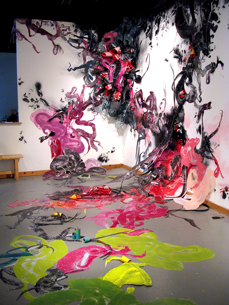 Parasites  (at Galerie Circulaire) 20' X 10' X 10' Woodcut and screen print on mylar and paper, spray paint, paper clips 2013