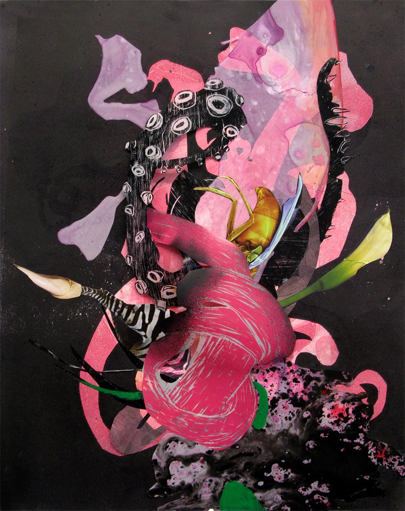 "Bouquet 18"" X 24"" monoprint; collaged woodcut, monoprint, and digital images 2014"