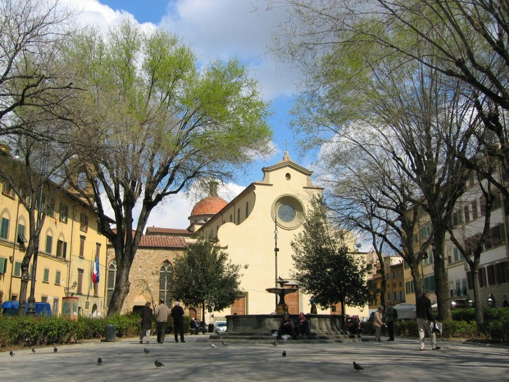 Florence's celebrated Piazza Santo Spirito, located near student housing.