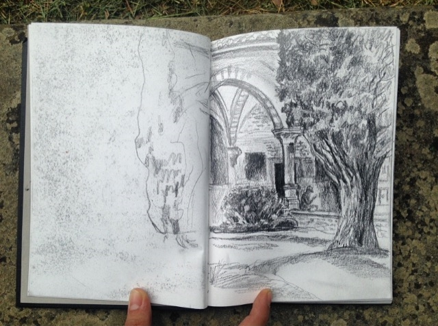 A beautiful drawing of the cloisters by Patricia Kehler