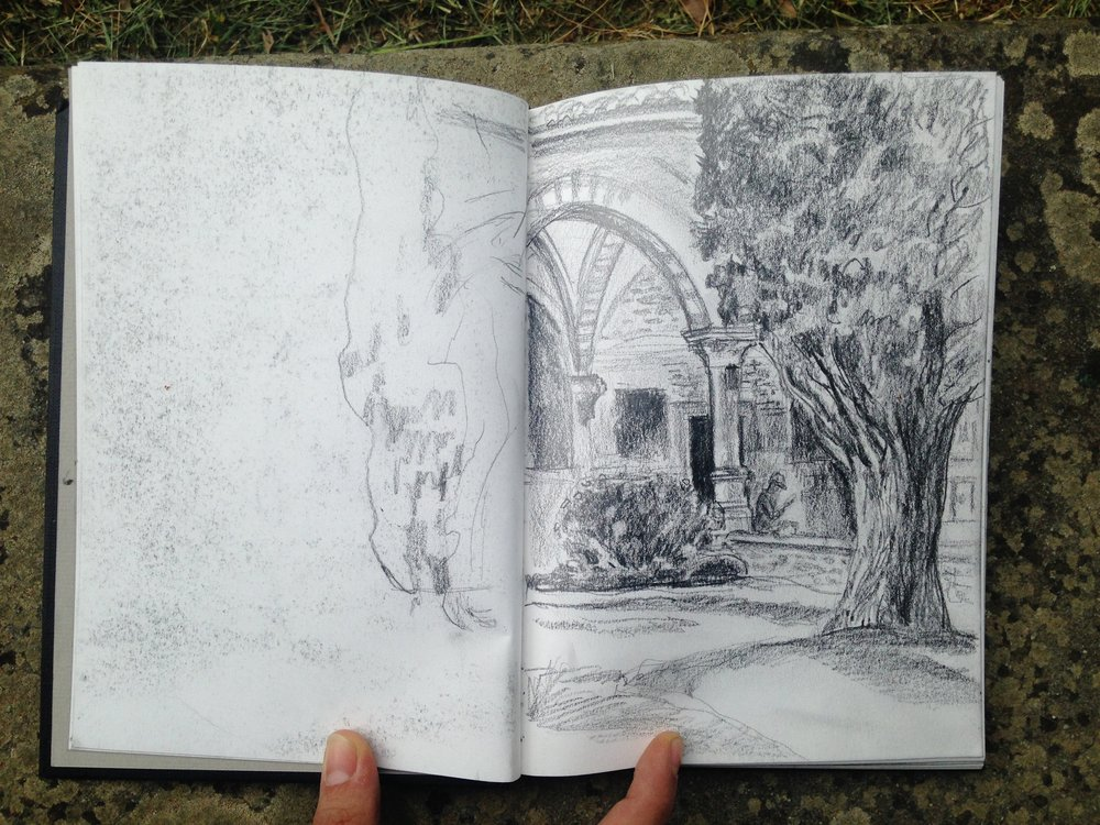Drawing of the Santa Maria Novella Cloisters by Patricia Kehler