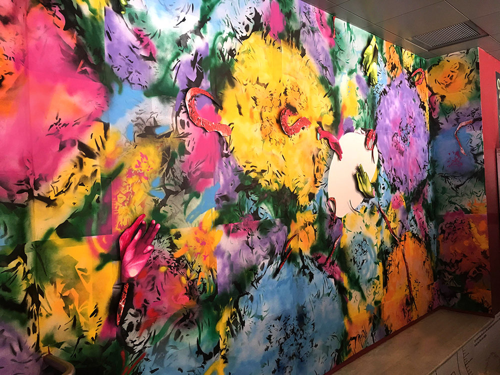 Neon Spring  (at HERE Arts Center, New York) Custom-made wallpaper; spray paint, cut paper, digital print installation 2017