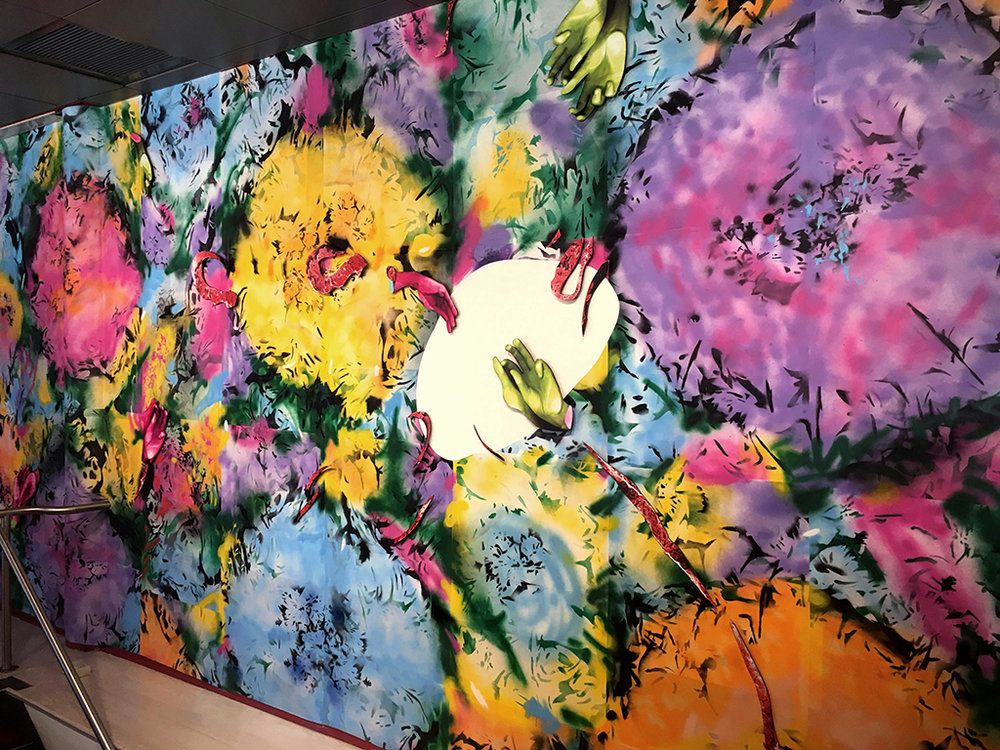 Neon Spring  (at HERE Arts Center, New York)  Custom-made wallpaper; spray paint, cut paper, digital print installation 21' X 9.5' X 14.5' 2017