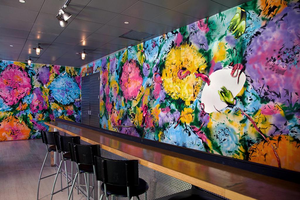 Neon Spring (at Here Art Center, New York) Custom-made wallpaper;