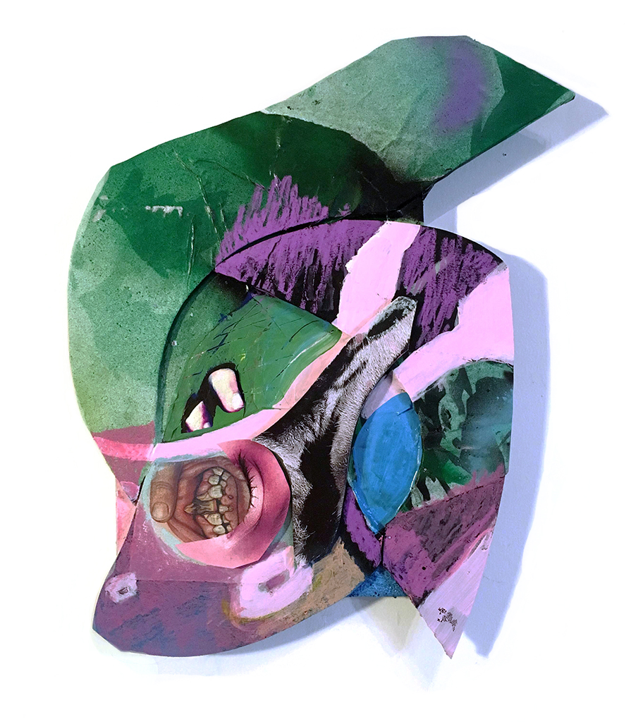 Mask (1)  Collage, digital print, mixed media on foamcore and panel 2017