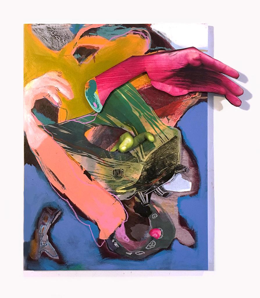 "Phantom Limb  Acrylic, collage, digital print, woodcut, mixed media on canvas 18"" X 22"" 2017"
