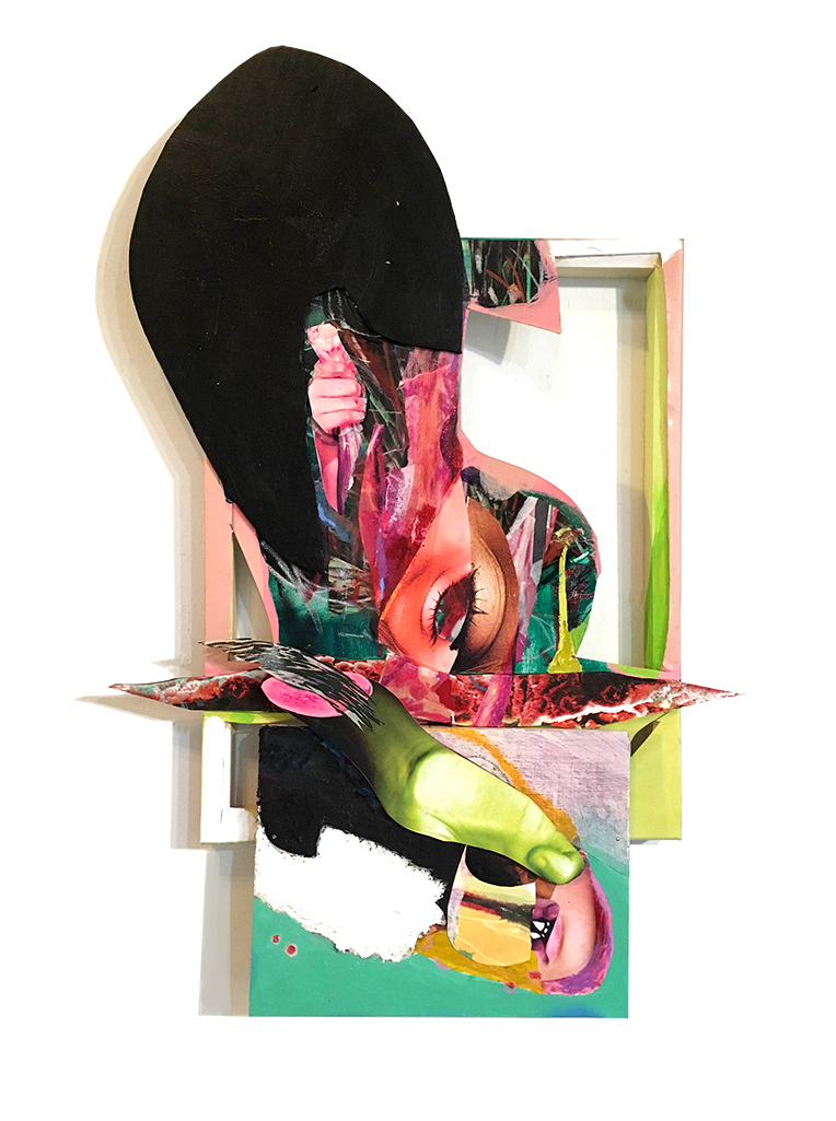 """Black Bulb 30"""" X 15"""" Collage, mixed media, panel, foamcore, cardboard, canvas on wooden frame 2017"""