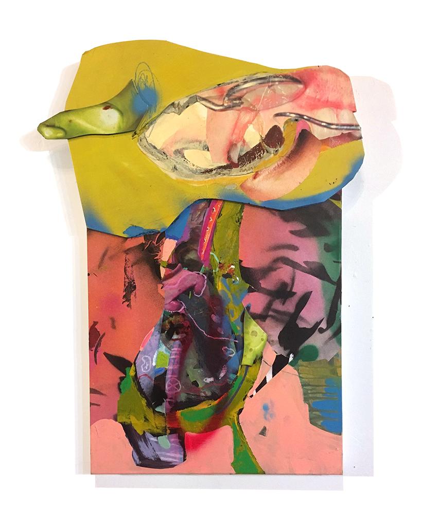 Threaded Collage, foam-core, spray-paint, mixed media, digital print, on canvas 2018