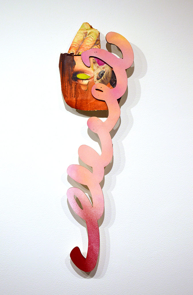 "Spring  Collage, cut wood, cardboard, spraypaint, acrylic on panel 30"" X 8"" X 2"" 2018"