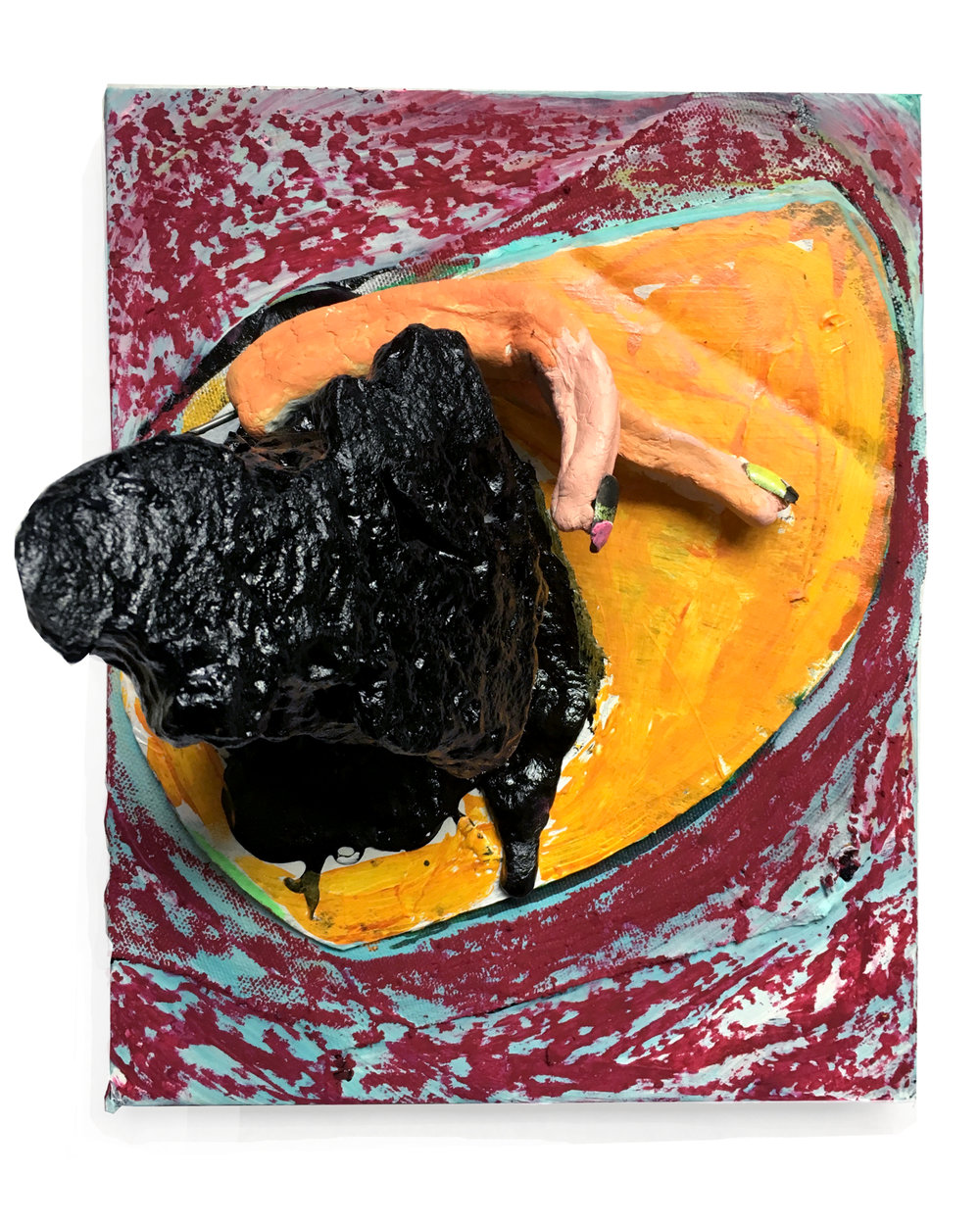 "Crystal and Claws (Orange and Tar)  8"" X 10"" Tar, foam, clay, collage, fake nails, crayon, mixed media on panel 2018"