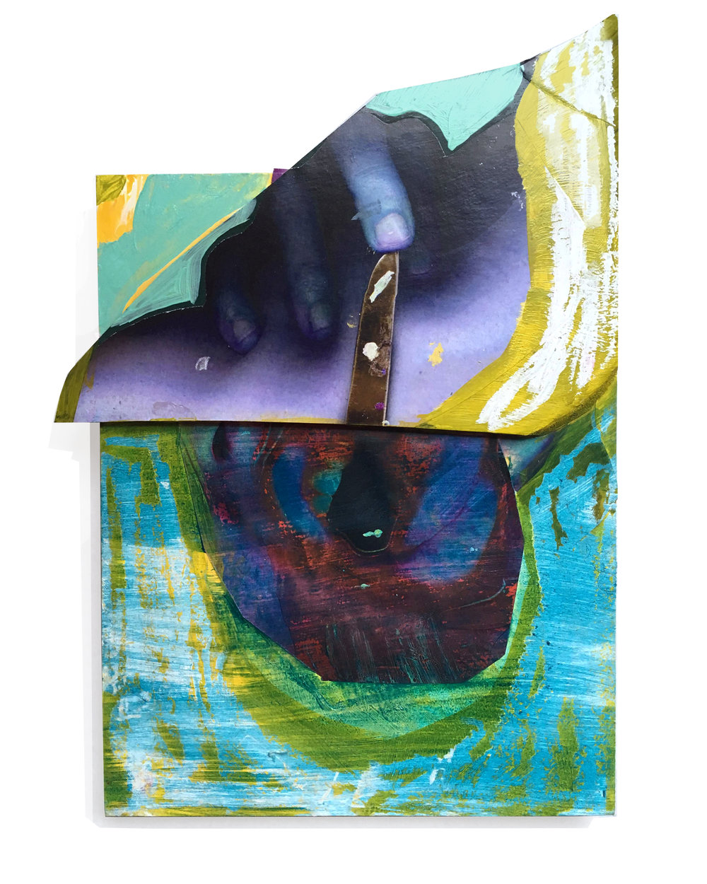 """Swallow (Under Blue)  8 X 12"""" Cut paper, mixed media, foamcore on panel 2018"""