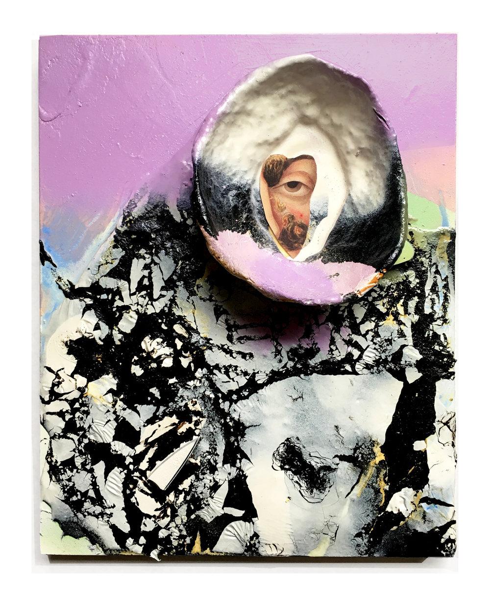 "Hole  8"" x 10""   Clay, tar, cut paper, spray paint, mixed media on panel 2018"