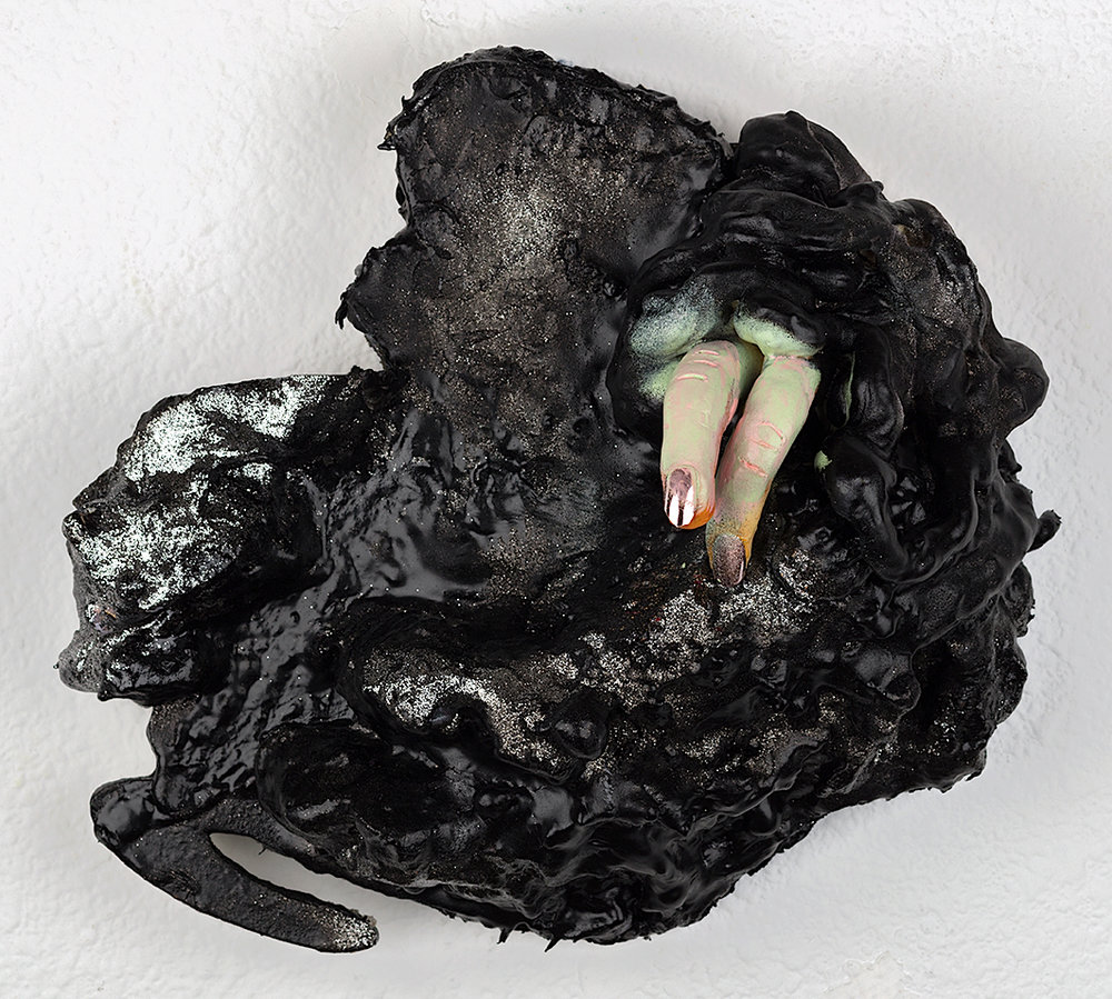 "Tarpit  16"" X 15"" X  4"" Foam, clay, wood, tar, fake fingernails, glitter 2018"