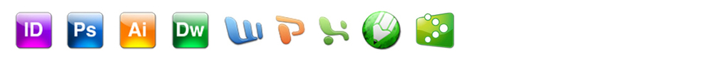 InDesign, Photoshop, Illustrator, Dreamweaver, Word, PowerPoint, Excel, Corel, QuickBooks