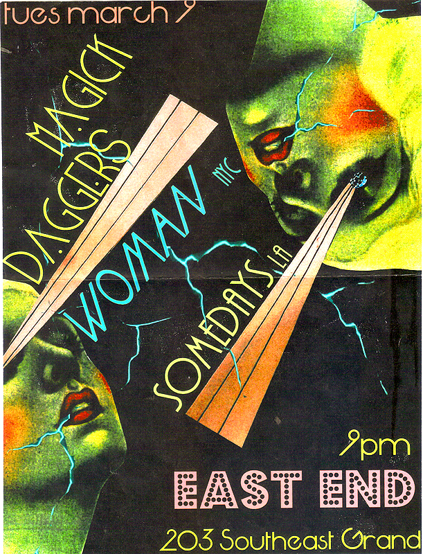 WOMAN / Magick Daggers / Some Days  Flyer by Jessy Montaigne of Magick Daggers   EAST END Portland, OR