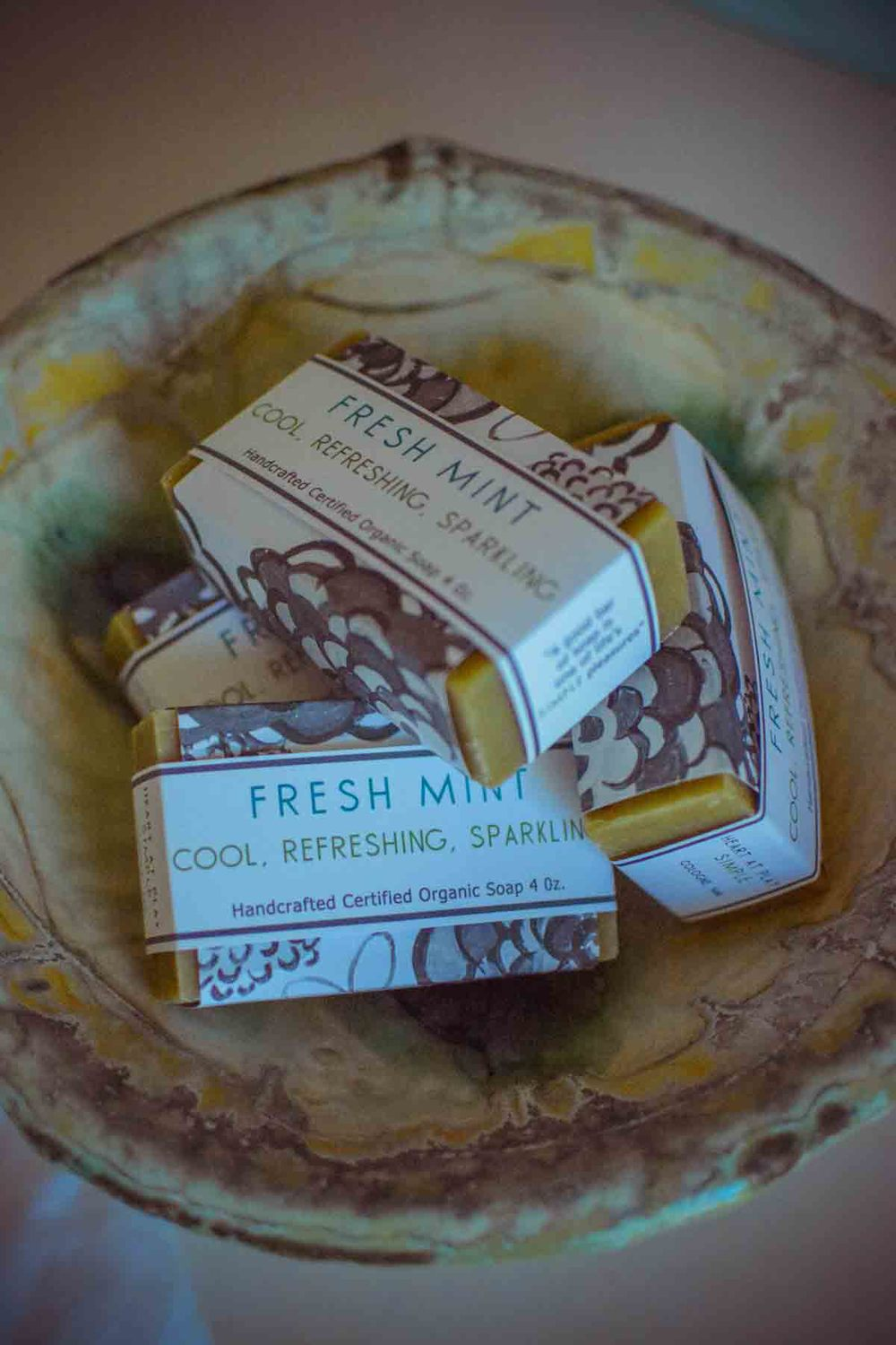 Fresh Mint Soap On Local Pottery