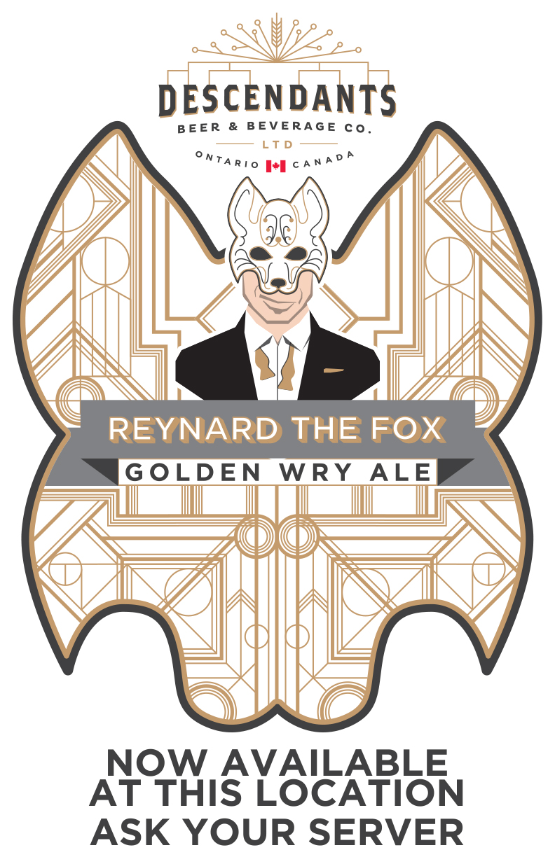 In-bar promotional poster for Descendants Beer & Beverage Co's Reynard the Fox Golden Wry Ale