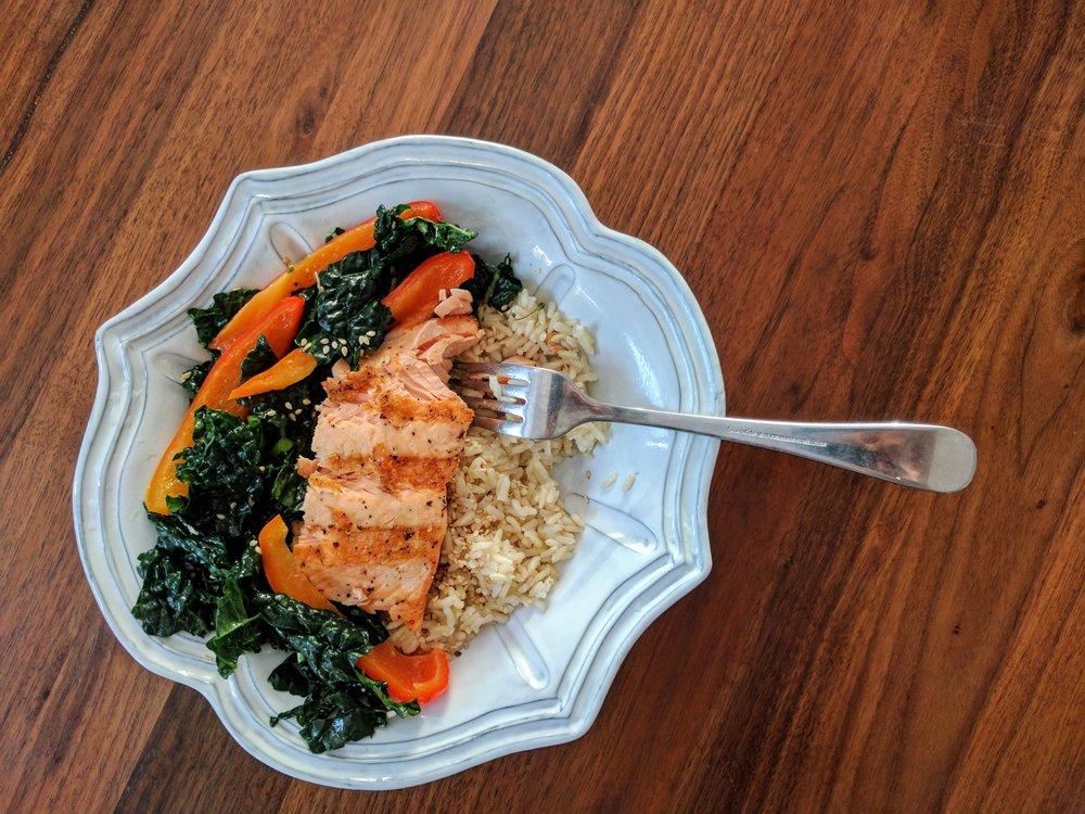 Lemony Kale Salad with Salmon and Rice