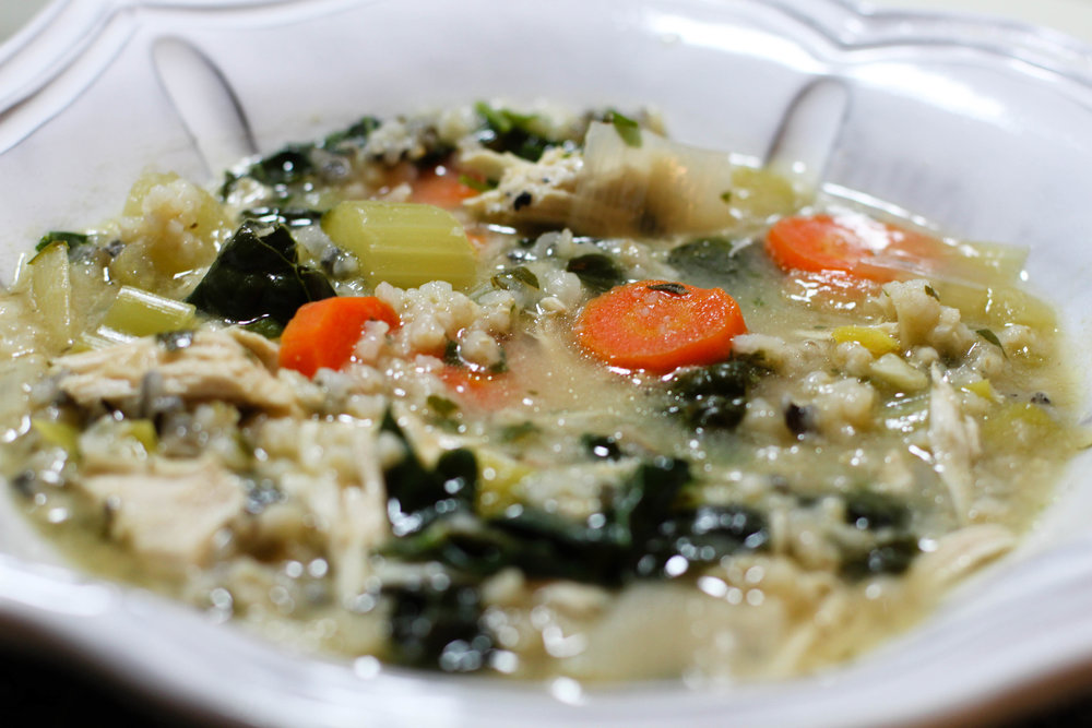 Crockpot Chicken Rice and Kale Soup