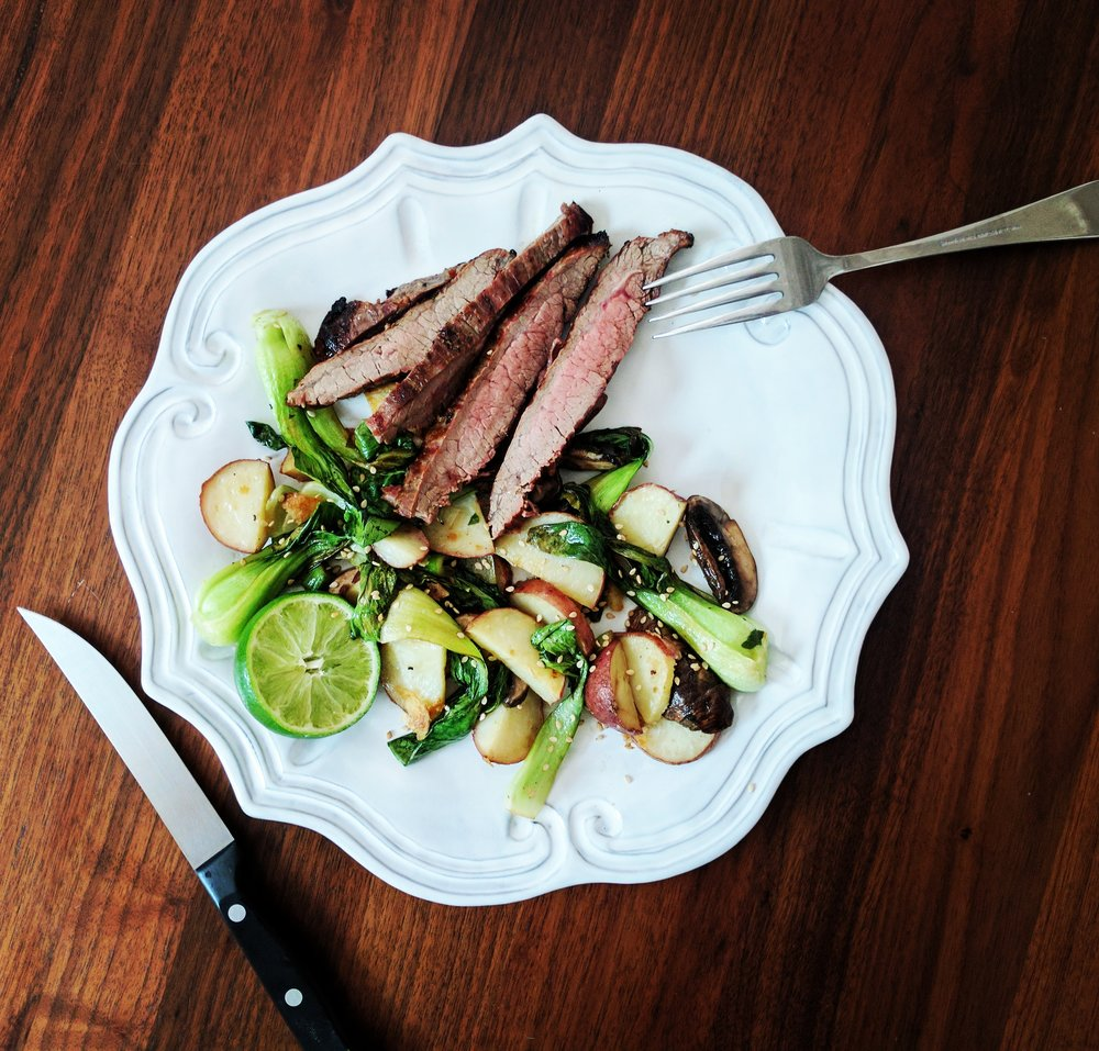 Grilled Flank Steak with Red Potatoes, Mushrooms, and Bok Choy