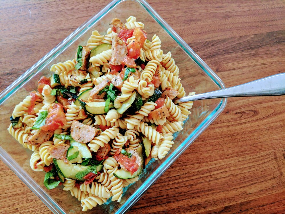 Banza chickpea pasta, zucchini and spicy chicken sausage