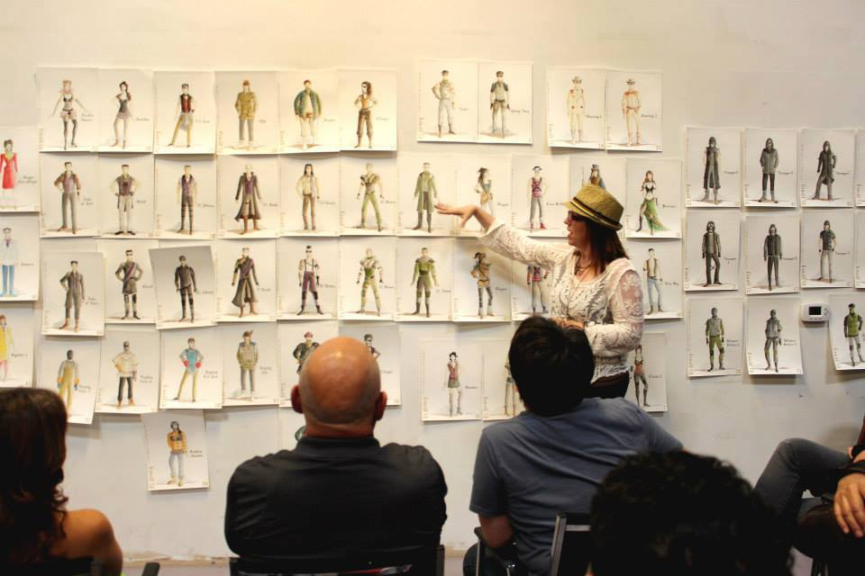 JBG presenting renderings of her designs at first rehearsal