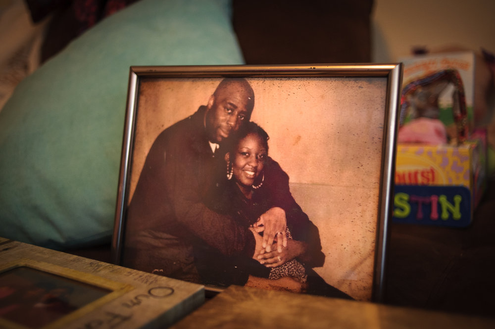 A photograph of Candis, 31, and her husband John, taken during a prison visit.  April 18, 2014.