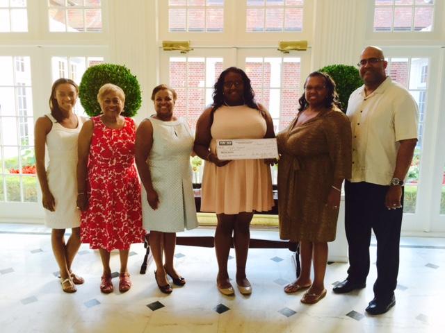 2015 Scholarship awardee Kayla Cockrel. L-R TCSDEF Board members Chelsea Jenkins, Joan Patrick-Morris &Dr. Renita Clark, Kayla Cockrel and parents Kimberly and Ken Cockrel