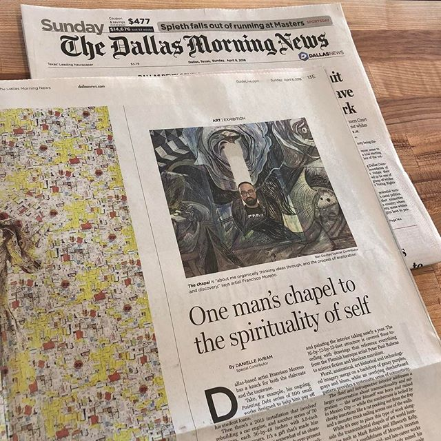 """After a fantastic celebration last, waking up to this article by Danielle Avram in the Dallas Morning News was the icing on the cake! Thank you Danielle for your thoughtful words. We are so proud of Francisco Moreno and honored to have """"The Chapel"""" up in the gallery through May 19. Link in bio to the images, article and a video piece. @morencisco @dallasnews @shutupdanielle #thechapel"""
