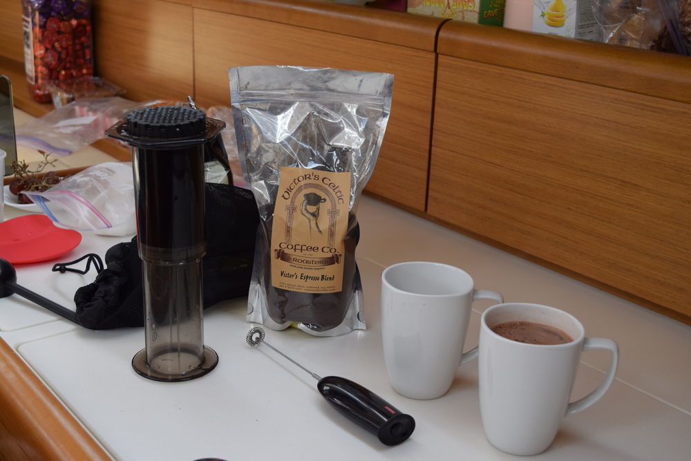 What's life on the boat without the AeroPress Latte Maker and Victor's Coffee from Redmond?