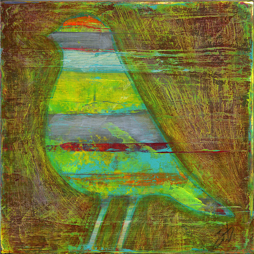put a bird on it  6x6  acrylic on wood