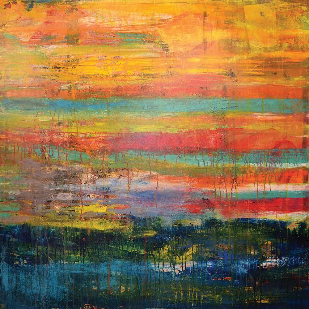 sunset  48x48  acrylic on canvas