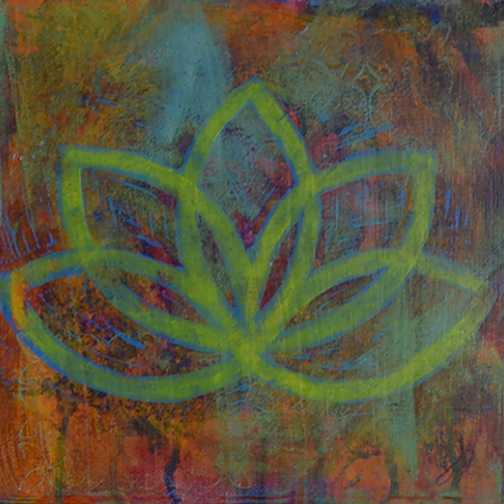 lotus  10x10  acrylic on canvas