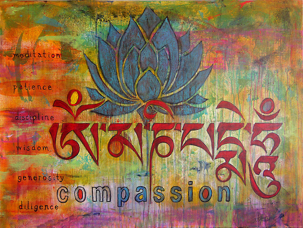 om mani padme hum  36x48  acrylic on wood
