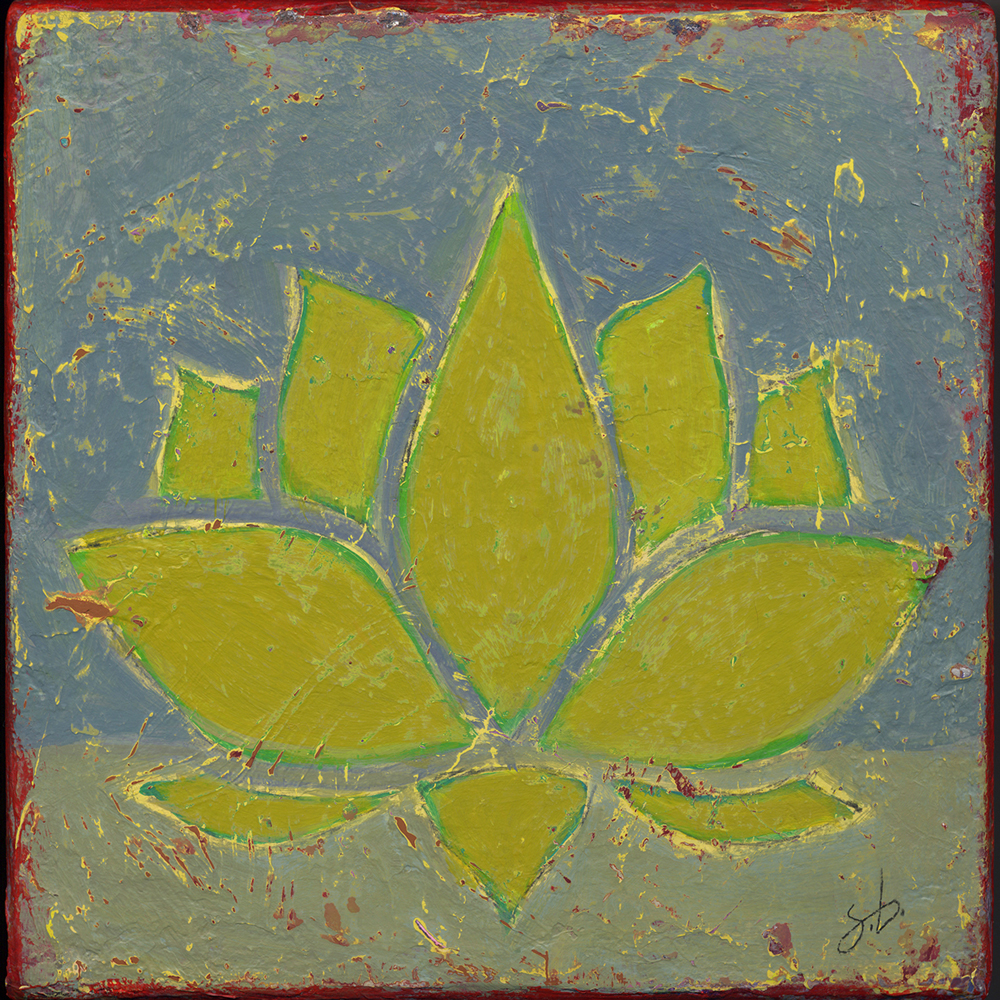 lotus red edge  8x8  acrylic on wood [46]
