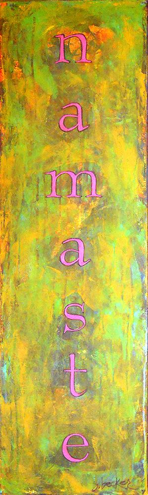 namaste  48x12  acrylic on canvas
