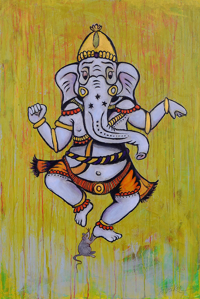 ganesh dancing  36x24  acrylic on canvas