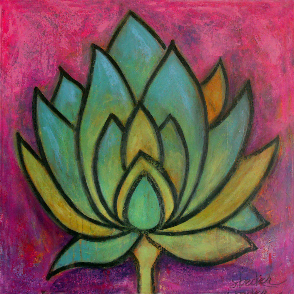 lulu lotus  20x20  acrylic on canvas