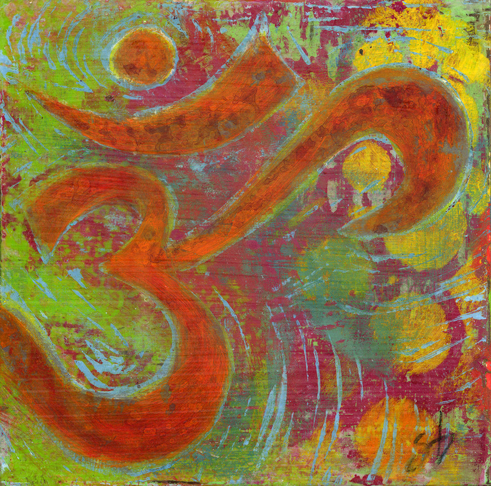 aum  6x6  acrylic on wood