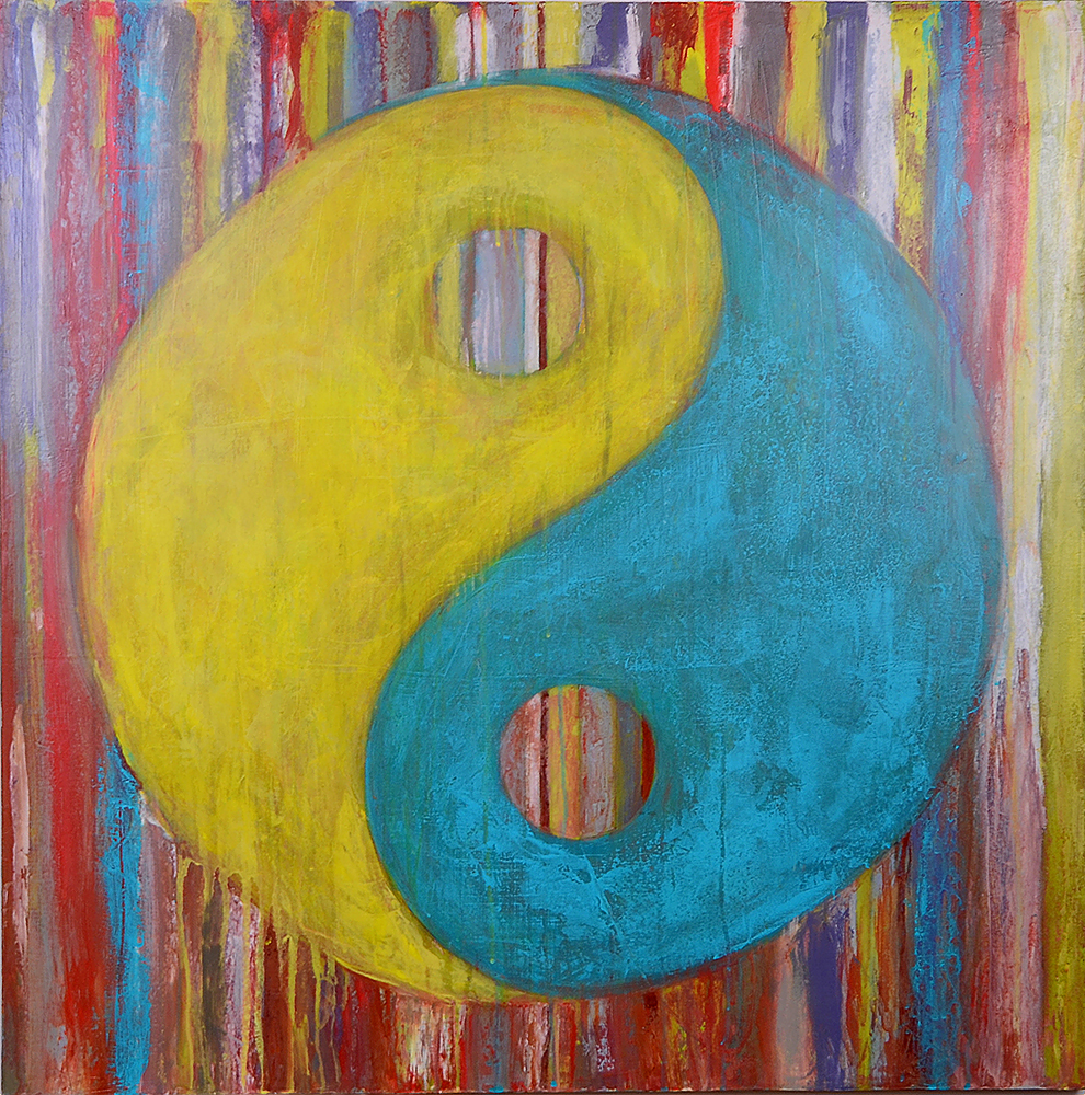 yin yang  36x36  acrylic on canvas
