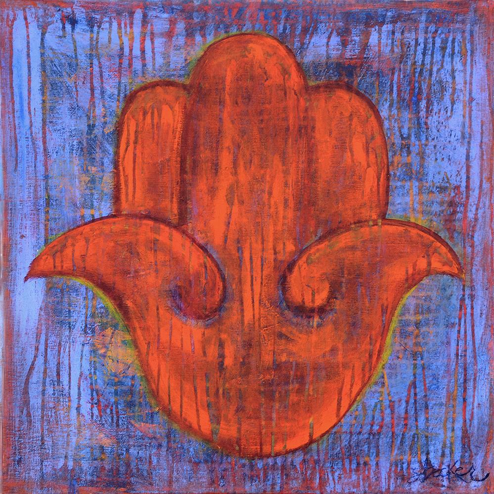 hamsa  24x24  acrylic on canvas