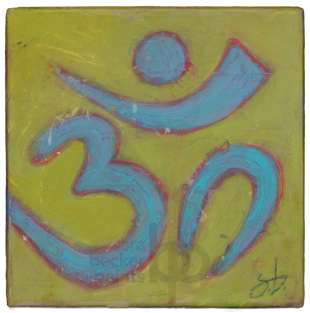 aum {teal} v3. 8x8 acrylic on wood [13]