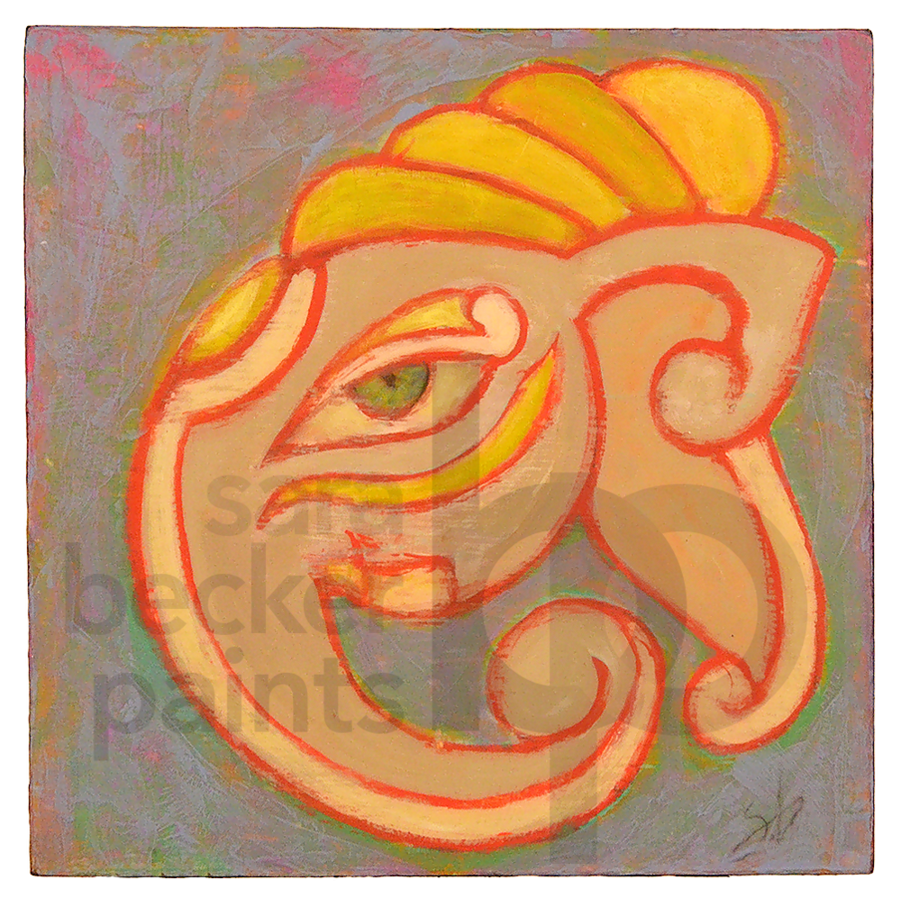 ganesha head {blue} 10x10 acrylic on wood [18]